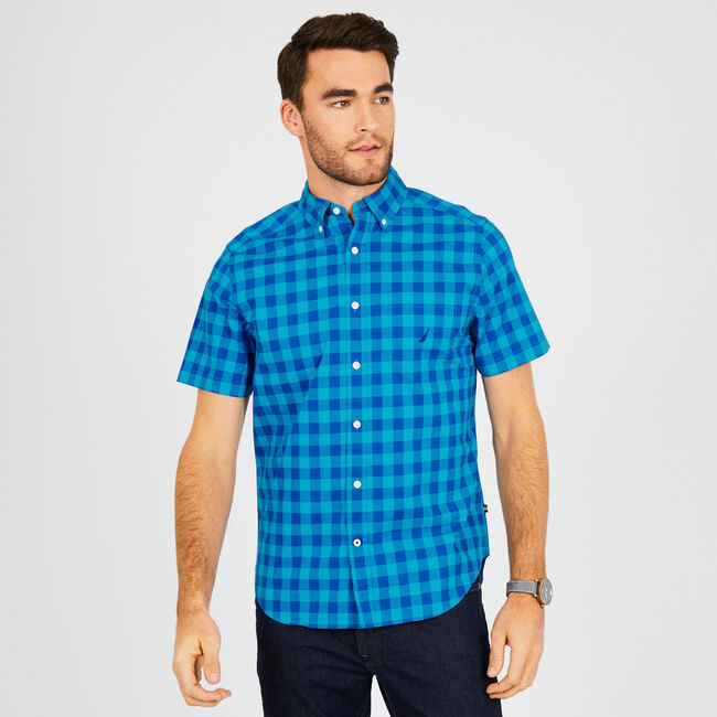 Classic Fit Short Sleeve Plaid Button Down,Bright Blue Jig,large