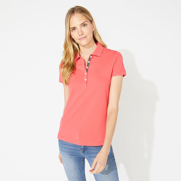 CLASSIC FIT CHAMBRAY COLLAR POLO - Persian Red