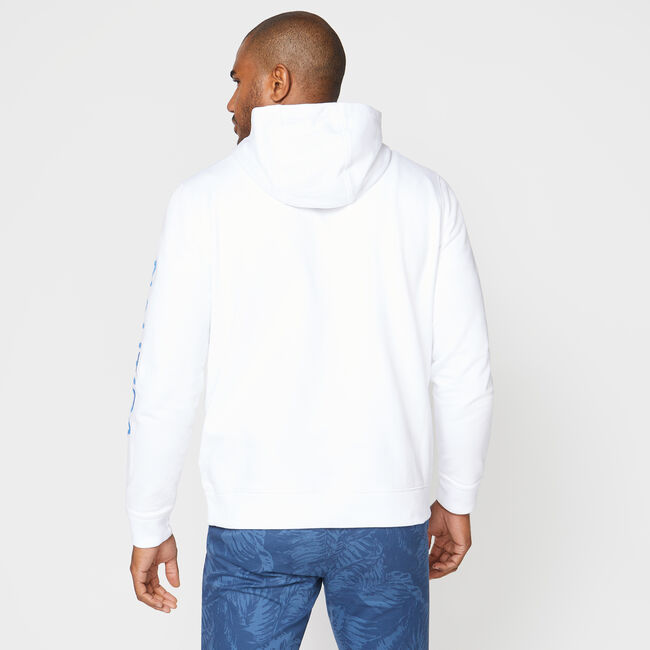 LOGO-SLEEVE PULLOVER HOODIE,Bright White,large