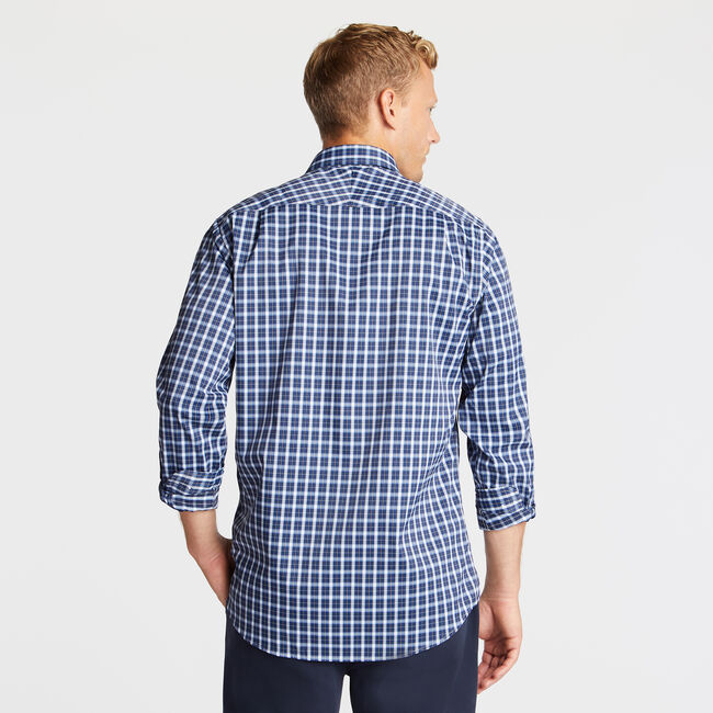 Classic Fit Non-Iron Performance Twill Shirt in Blue Plaid,Admiral Blue,large