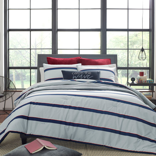 FENDING COMFORTER & SHAM SET IN GREY - Navy