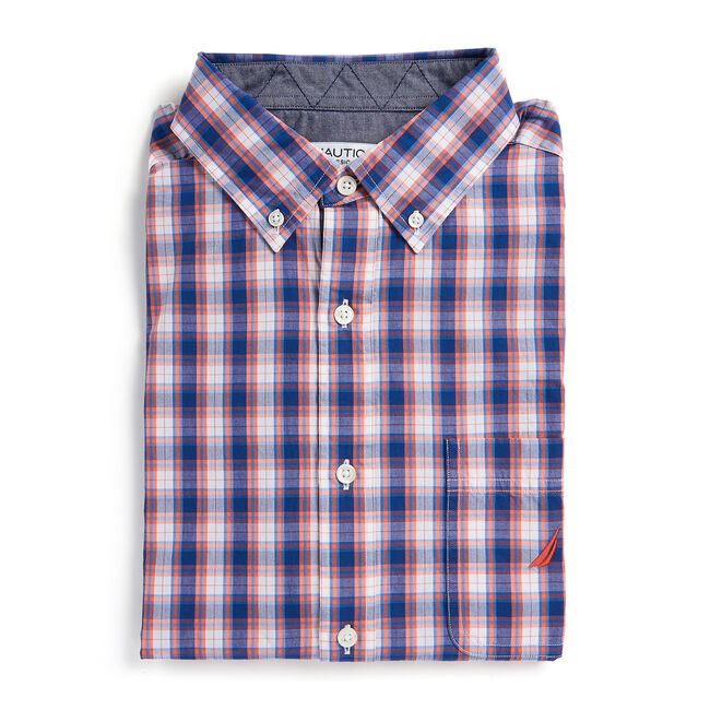 Classic Fit Shirt in Plaid,Livng Coral,large