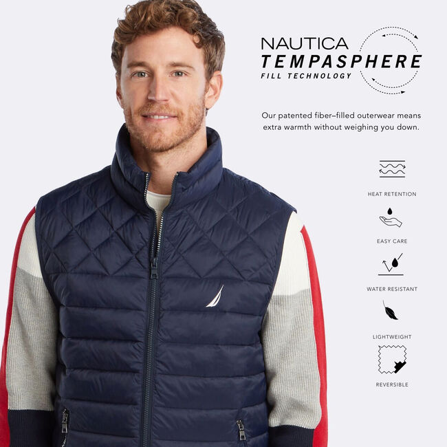 LIGHTWEIGHT TEMPASPHERE QUILTED VEST,Navy,large