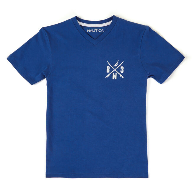 Little Boys' V-Neck Logo Chest Tee (4-7),Navy,large