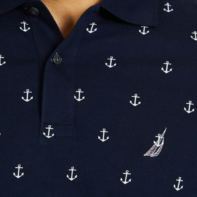 Anchor Motif Short Sleeve Slim Fit Polo,Navy,large