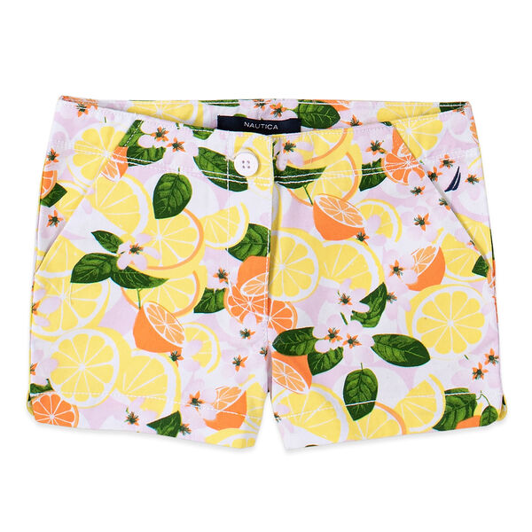 LITTLE GIRLS' FRUIT PRINTED TWILL SHORTS (4-7) - Limelight