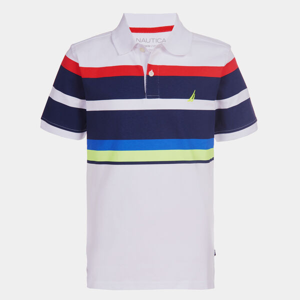 BOYS' COLORBLOCK STRIPE POLO (8-20) - J Navy