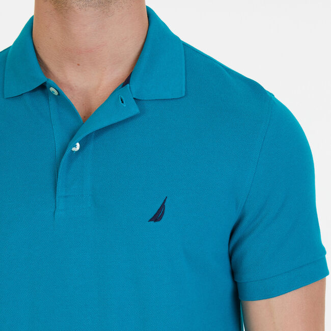 Short Sleeve Pique Classic Fit Deck Polo,Hunter Green,large
