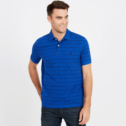 Classic Fit Piqué Polo in Breton Stripe - Bright Cobalt
