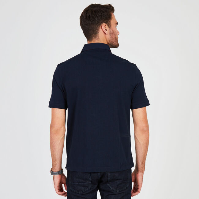 Signature Print Classic Fit Polo,Navy,large