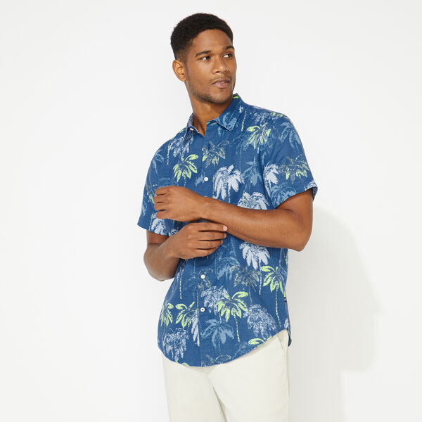 CLASSIC FIT LINEN TROPICAL PRINT SHIRT - Limoges