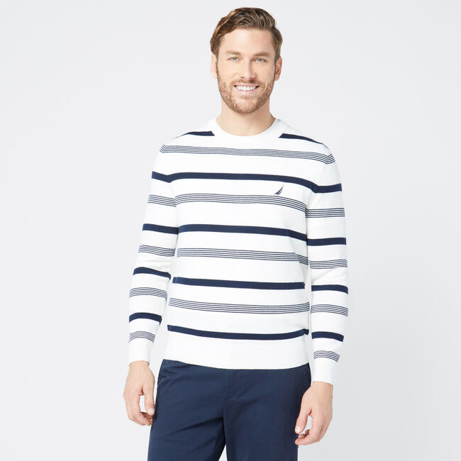 CLASSIC FIT STRIPED SWEATER,Marshmallow,large