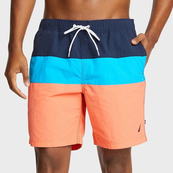 "8"" TRI-COLORBLOCK SWIM TRUNKS - Livng Coral"