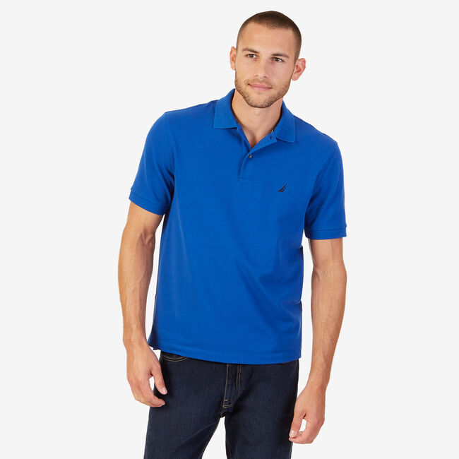Classic Fit Performance Stretch Polo Shirt,Monaco Blue,large