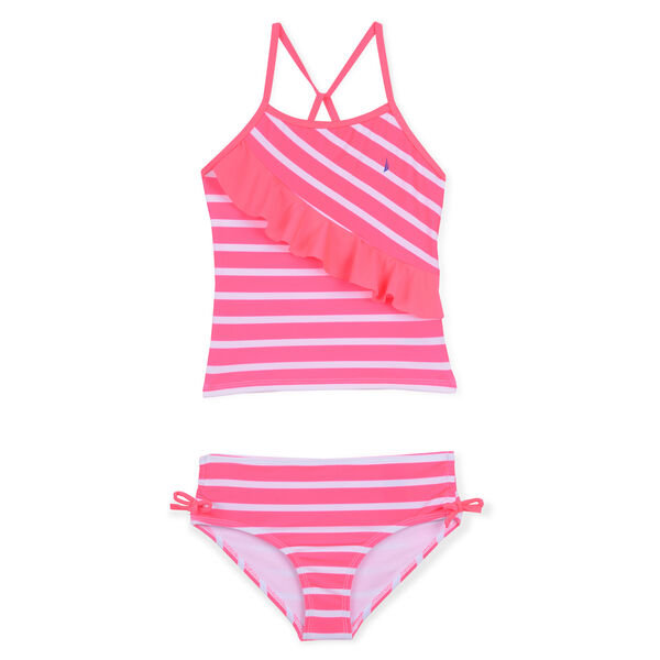Girls' Flutter Tankini Swimsuit in Stripes - Salmon
