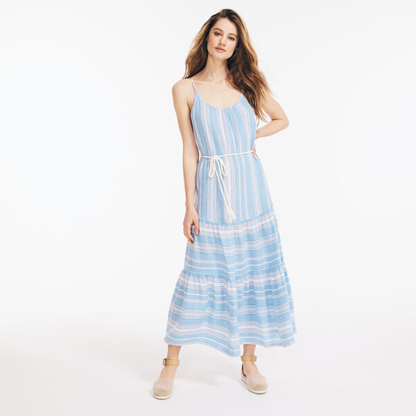 LINEN-BLEND STRIPED MIDI DRESS - Bright White