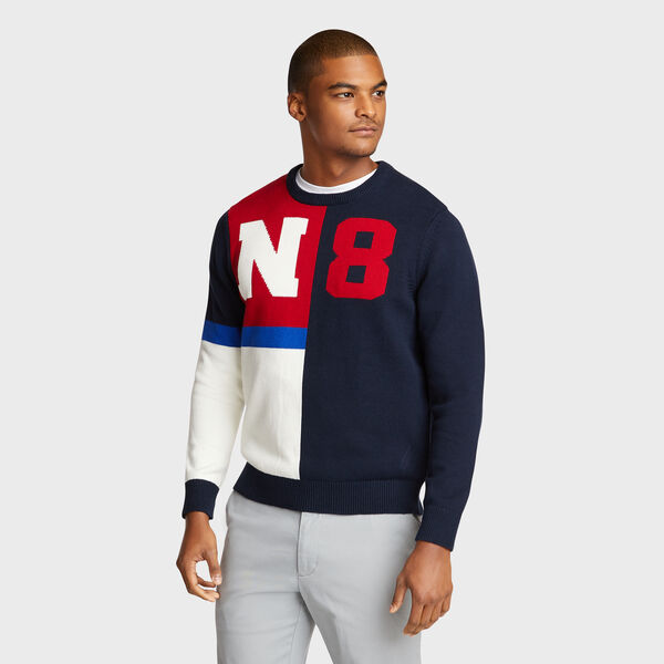 N-83 Colorblock Crewneck Sweater - Pure Dark Pacific Wash