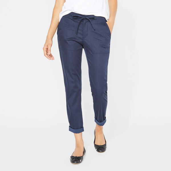 DRAWSTRING WAIST SATEEN PANTS - Stellar Blue Heather