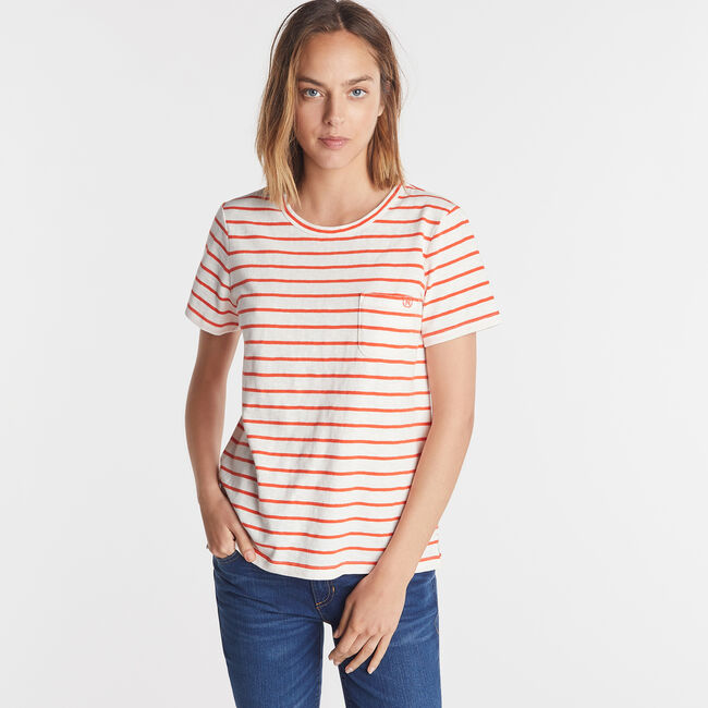 NAUTICA JEANS CO. STRIPE CREW NECK TEE,Marshmallow,large