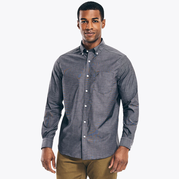 CLASSIC FIT WRINKLE-RESISTANT SOLID SHIRT - True Black