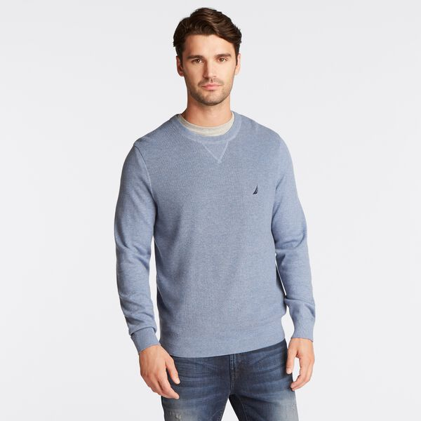 NAVTECH RIBBED FRONT SWEATER - Anchor Blue Heather