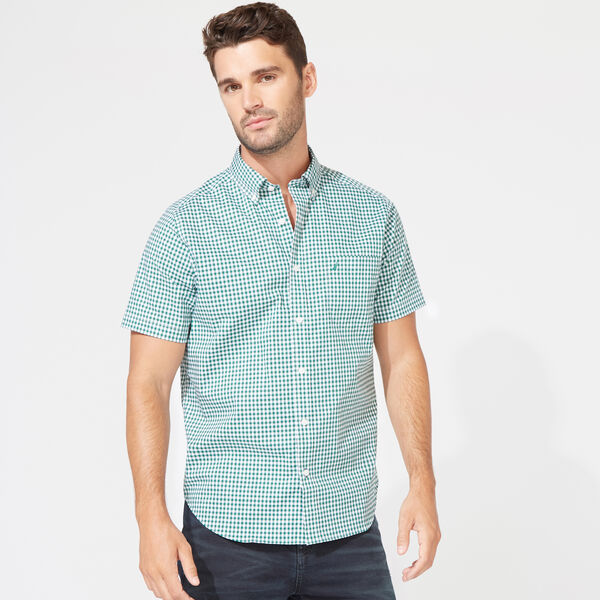 Wrinkle-Resistant Short Sleeve Classic Fit Shirt in Gingham - Spruce