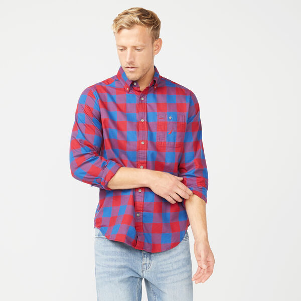 CLASSIC FIT LONG SLEEVE GINGHAM SHIRT - Rio Red