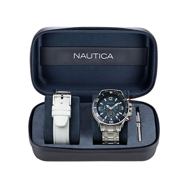 NST CHRONOGRAPH STAINLESS STEEL AND SILICONE WATCH BOX SET - Multi