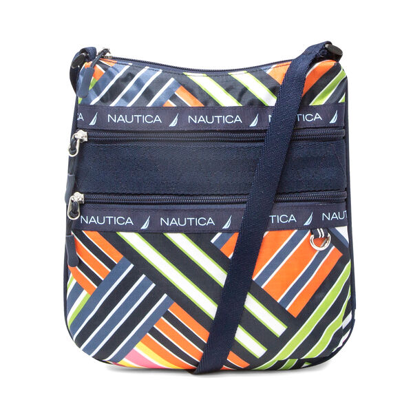 BANNER STRIPE PRINTED CROSSBODY BAG - Ice Blue