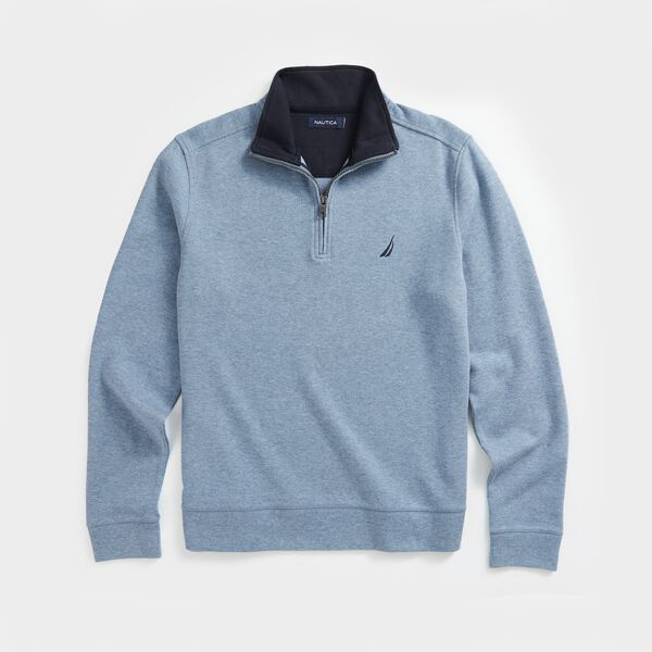 QUARTER-ZIP FRENCH RIBBED SWEATSHIRT - Anchor Blue Heather