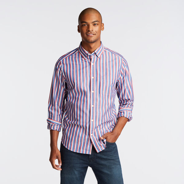 CLASSIC FIT POPLIN SHIRT IN VERTICAL STRIPE - Limoges