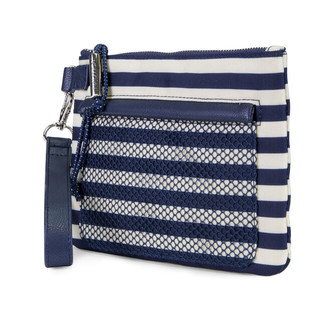 Shore Thing Flat Wristlet with Mesh Front Pocket,Navy,large