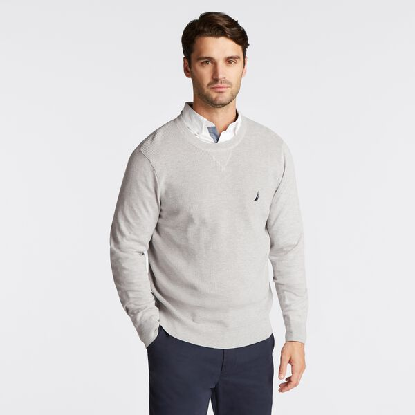 NAVTECH RIBBED FRONT SWEATER - Grey Heather