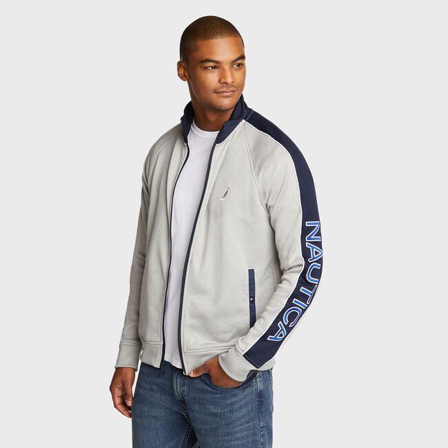 Track Jacket with Piping,Grey Heather,large