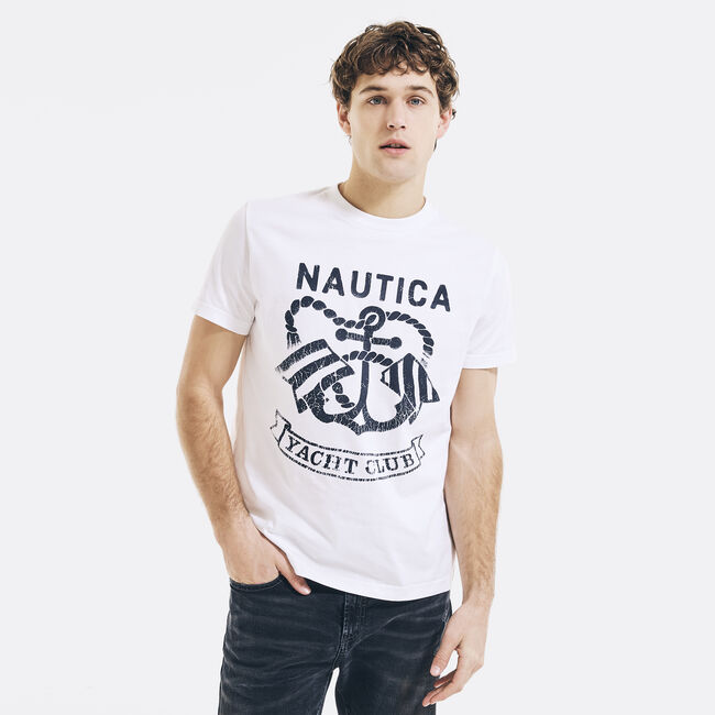 NAUTICA JEANS CO. YACHT CLUB GRAPHIC T-SHIRT,Bright White,large