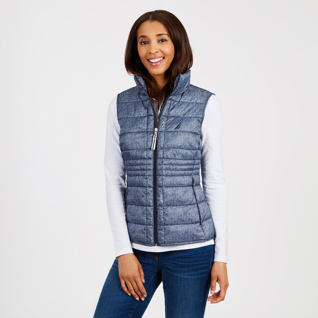 Quilted Packable Full-Zip Vest,Deep Sea,large