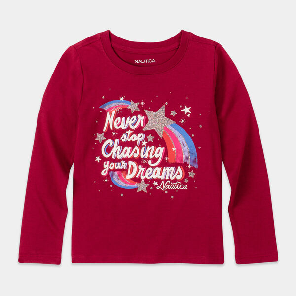 GIRLS' GLITTER GRAPHIC LONG SLEEVE T-SHIRT (8-20) - Crimson