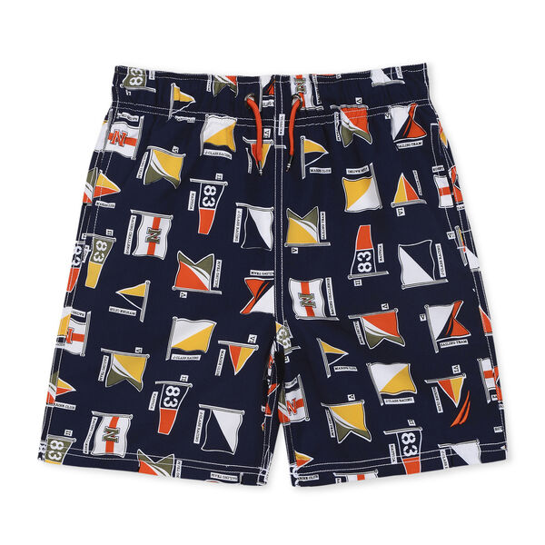 BOYS' TOM AO SWIM TRUNK IN SIGNAL FLAG PRINT (8-20) - Oyster Bay Blue