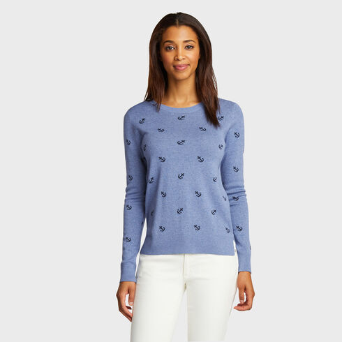 Anchor Pattern Cotton & Modal Sweater - Cornflower Blue
