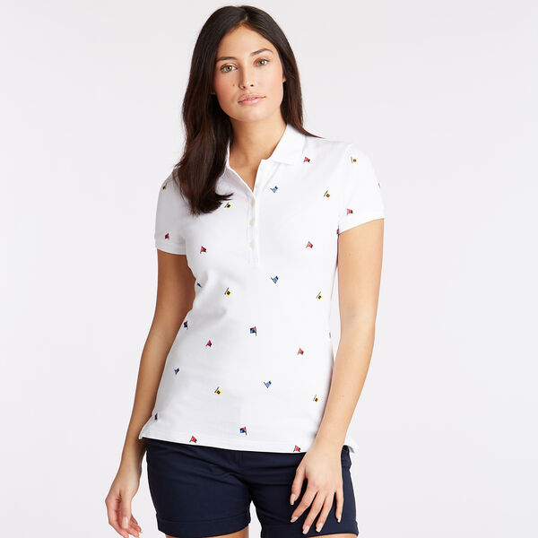 Embroidered Flag Motif Polo - Bright White