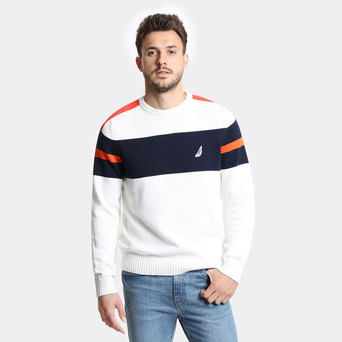 Mens Sweaters Crew Neck Cable Knit Fisherman Sweaters Nautica