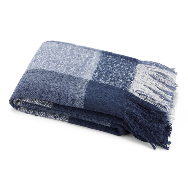 Large Throw Blanket in Indigo Plaid - Distressed Blue Wash
