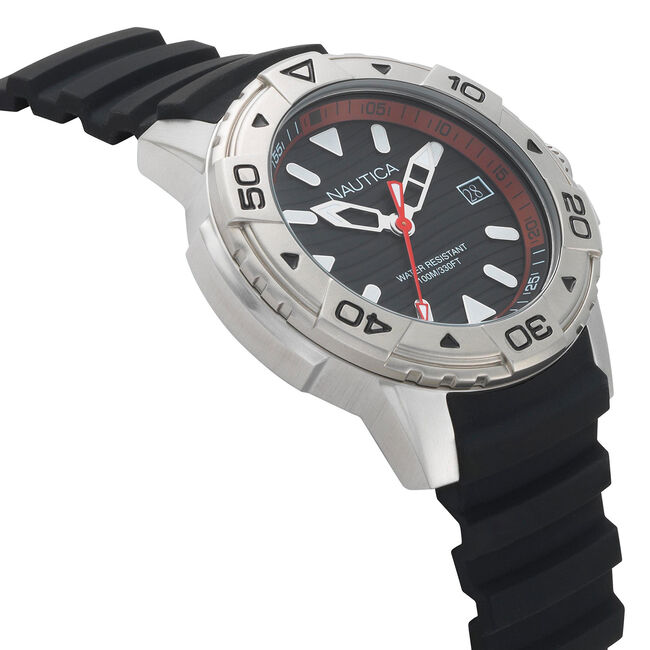 Edgewater Silicone Watch - Black,Black,large