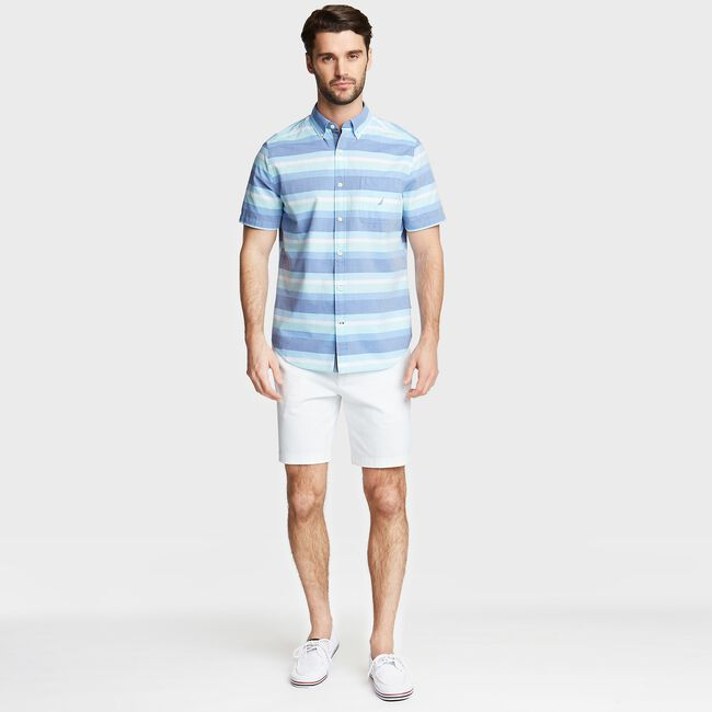 CLASSIC FIT SHORT SLEEVE POPLIN SHIRT IN PLAID,Clear Sky Blue,large