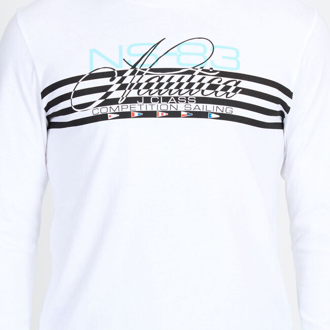 Signature Stripes Crewneck Tee,Bright White,large