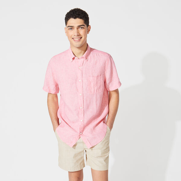 CLASSIC FIT SHORT SLEEVE LINEN SHIRT - Teaberry