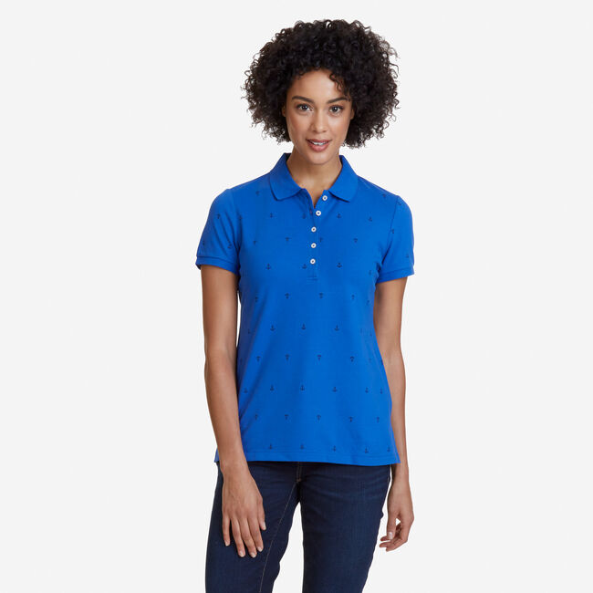 Anchor Motif Classic Fit Polo,Bright Cobalt,large