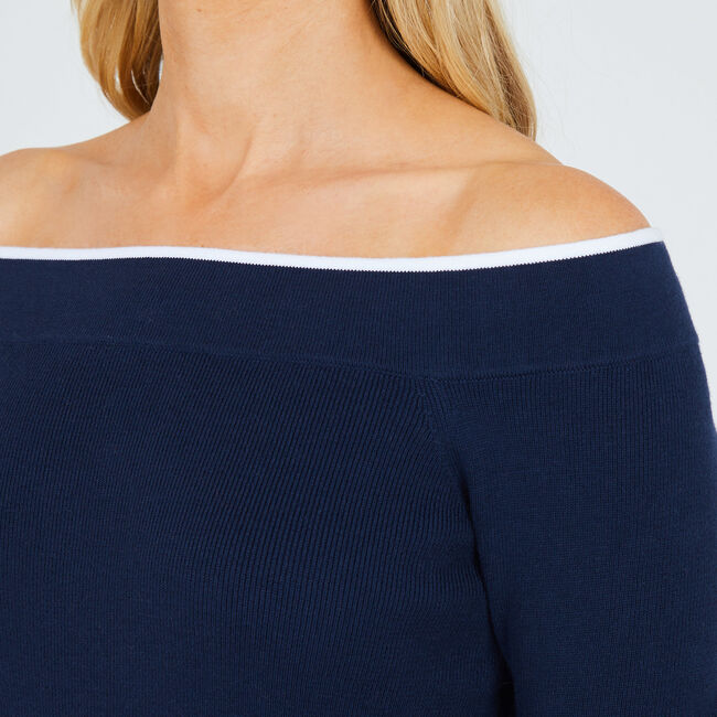Long Sleeve Off-The-Shoulder Sweater,Deep Sea,large