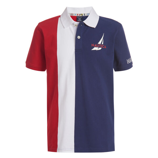 BOYS' CONNOR COLORBLOCK HERITAGE POLO (8-20) - Melonberry