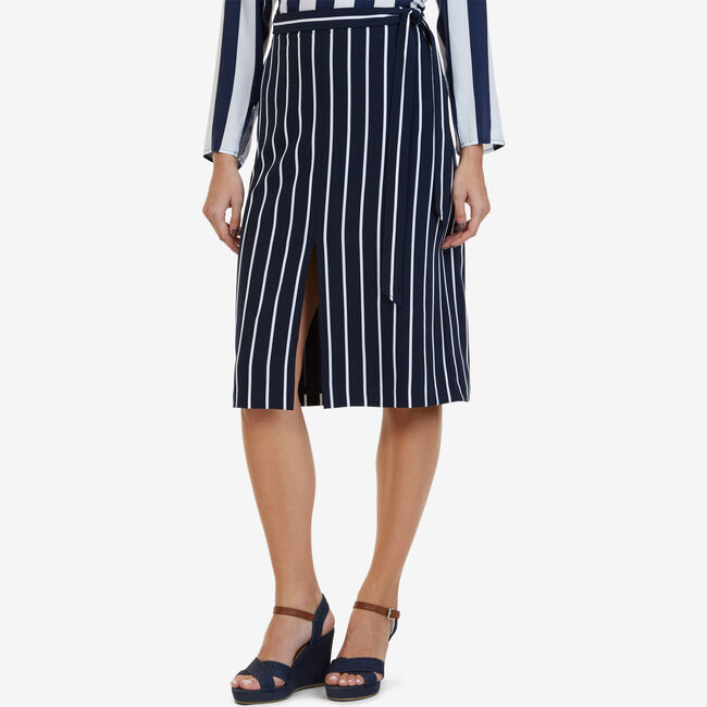Striped Midi Skirt,Deep Sea,large